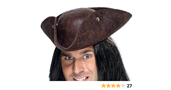 Mens Unisex Fancy Dress Deluxe Tricorn Pirate Hat Black//Red New by Smiffys