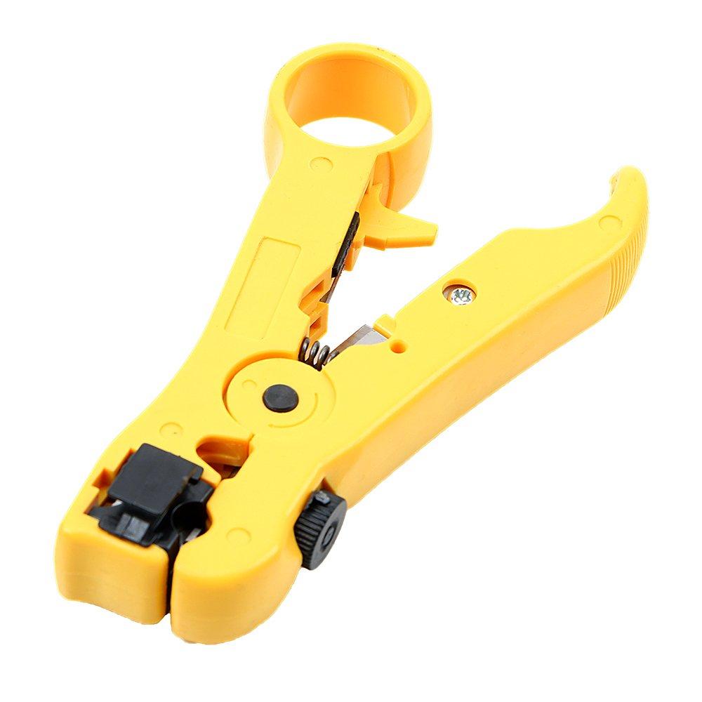 Alicates de alambre multifuncionales para cortador UTP//STP RG59 RG6 RG7 RG11 amarillo
