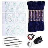 Sashiko kit | Yokota Sashiko Thread, Needles and Template Yume Fukin with Original English Manual, Thimble Sewing Set, Fabric, Japanese Textile (White Thread/Navy Dishcloth)