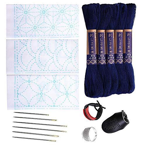Sashiko kit | Yokota Sashiko Thread, Needles and Template Yume Fukin, Thimble Sewing Set, Fabric, Japanese Textile (Navy Thread/White Dishcloth)