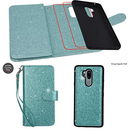 Ymhxcy LG G7 Wallet Case, LG G7 ThinQ Phone Case,PU Leather [9 Card Slots][Detachable][Kickstand] Phone Case & Wrist Lanyard LG G7-PT Mint by Ymhxcy (Image #3)