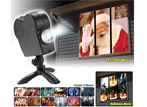 Window Wonderland Led Projector Lights, Star Shower 12 Movies Halloween Christmas Projection Lamp Show, Outdoor/Indoor Festival Decorations:Turns Your Windows Into Festive Movie Screens ()