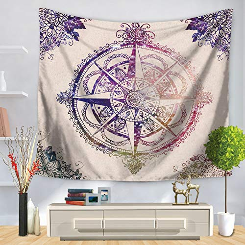 Tapestry Wall Hanging,Indian Bohemia Hippie Gothic Psychedelic Trippy Ethnic Purple Compass Large Rectangular Printed Fabric Modern Multifunctional Abstract Art Home Wall Decor for Living Room Bedroo