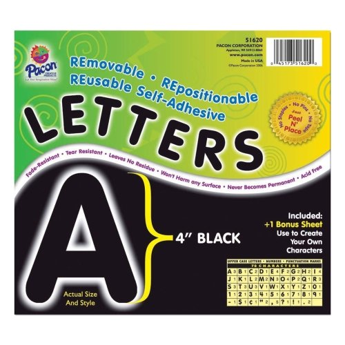 Pacon Self-Adhesive Removable Letters - 78 Character - x 4