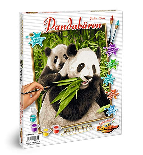 - Schipper 609240712 Panda Bears Paint by Numbers Board