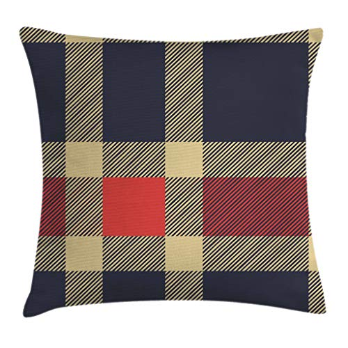 (Ambesonne Checkered Throw Pillow Cushion Cover, Vintage Plaid Scottish Tartan Pattern with Retro Display Checks Lines, Decorative Square Accent Pillow Case, 24 X 24 Inches, Dark Blue Coral Cream)