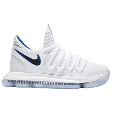 buy popular 84ee1 55a40 Nike Zoom KD10 LMTD NBA Grade School Basketball Shoes (4.5 M US Big Kid,  White/Game Royal/University Gold)