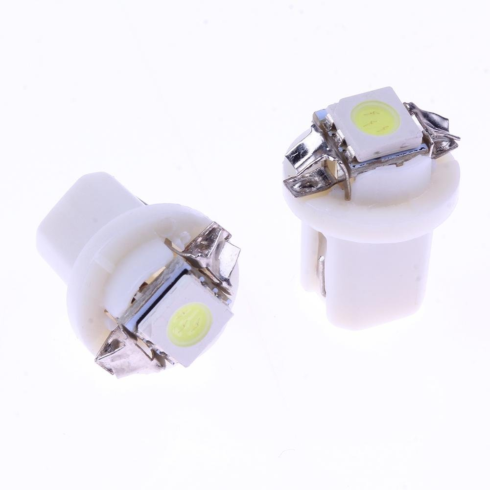 Everpertuk 10Pcs T5 B8.5D 5050 Smd Led Car Auto Strumento Cruscotto Lampadine Bianco
