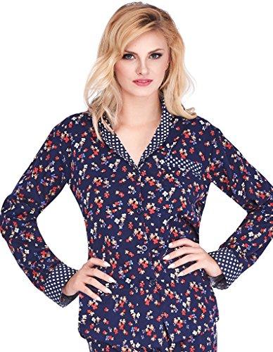 Mio Lounge Trudy Blue Multi Floral Polka Dot Soft Brushed Cotton Pyjama Set PJs ML16C5PJ