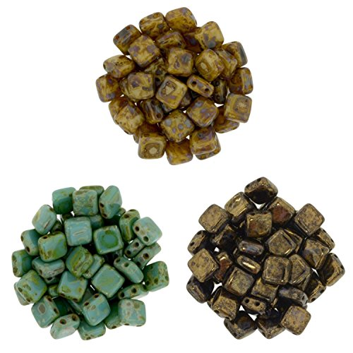 Tile Beads Bundle - 3 Colors: Czechmate 6mm Square 2-Hole Tile Beads - Picasso Mix 1 (75 beads total)