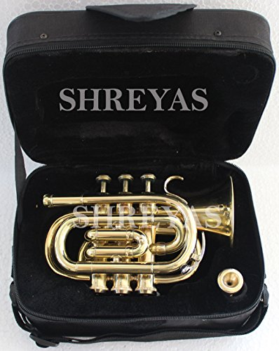 Pocket Trumpet With Brass Finish And A Mouthpeice shry086 by SHREYAS