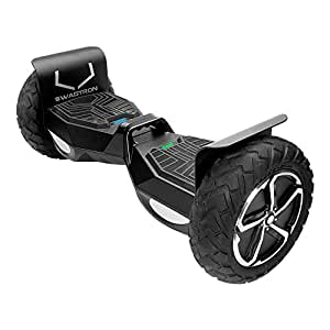 SWAGTRON T6 Off-Road Hoverboard – First in the World to Handle Over 250 LBS, Up to 12 MPH, UL2272 Certified (Black)