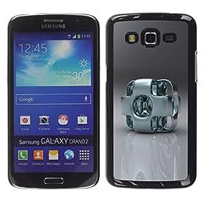 Caucho caso de Shell duro de la cubierta de accesorios de protección BY RAYDREAMMM - Samsung Galaxy Grand 2 SM-G7102 SM-G7105 - Abstract Metal Art