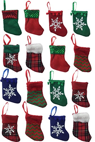 5.5 Mini Christmas Stockings for Decoration, Gift Card Holder or Party Favors - Set of 16 (Assorted) ()