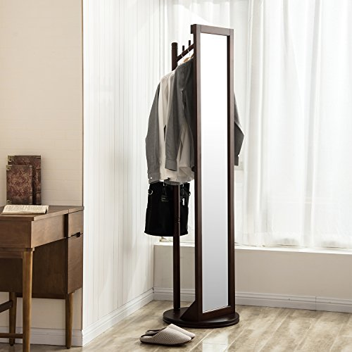 360° Rotatable Solid Wood Frame and Glass Dressing Mirror Free Standing Cheval Floor Mirror with Coat Stand Coat Hooks (Coffee) (Solid Wood Mirror)