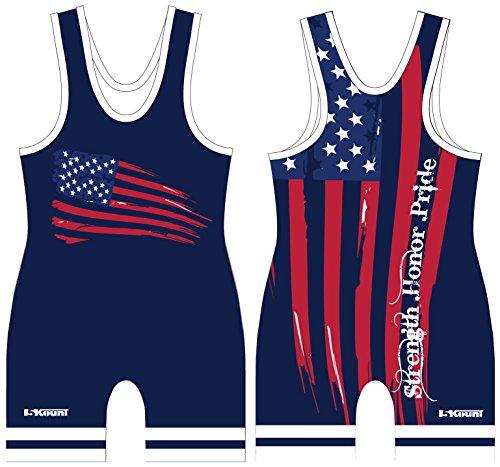 Singlet Wrestling Custom (American Flag Singlet - Blue -Adult Large)