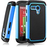 MOTO G case,EC™Shock Absorbing Dual Layer Hybrid Case, Heavy Duty Protective Armor Case Cover for Motorola Moto G with Sreen Protector and Stylus Pen (Light Blue)