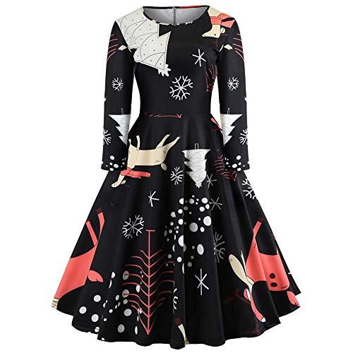 Simple Jupe Robe Vintage Impression De Longues Et Noël Femme Rond Col Jy12727 Europe Soirée Style Ligne Manches Alian Amérique 1ITdwxfqT
