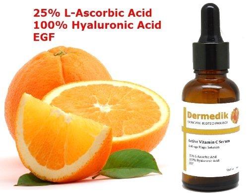 25% de vitamine C acide L-ascorbique + 100% ACIDE HYALURONIQUE + EGF SERUM COLLAGÈNE BOOST 1 oz/30ml Dermedik