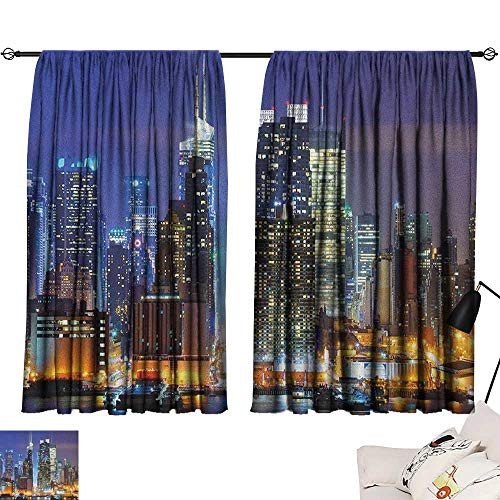 (Warm Family United States Thermal Curtains Manhattan View from Hudson River at Night Luminous Landscape Darkening and Thermal Insulating 63