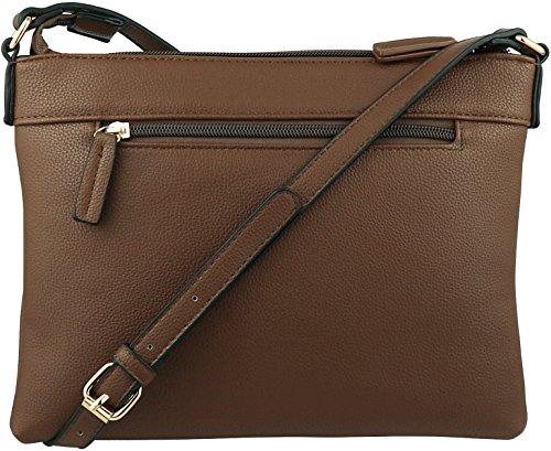 Tassel with BRENTANO Handbag Multi Purse Vegan Zipper Accents Coffee Crossbody B cdfq0w8x0X