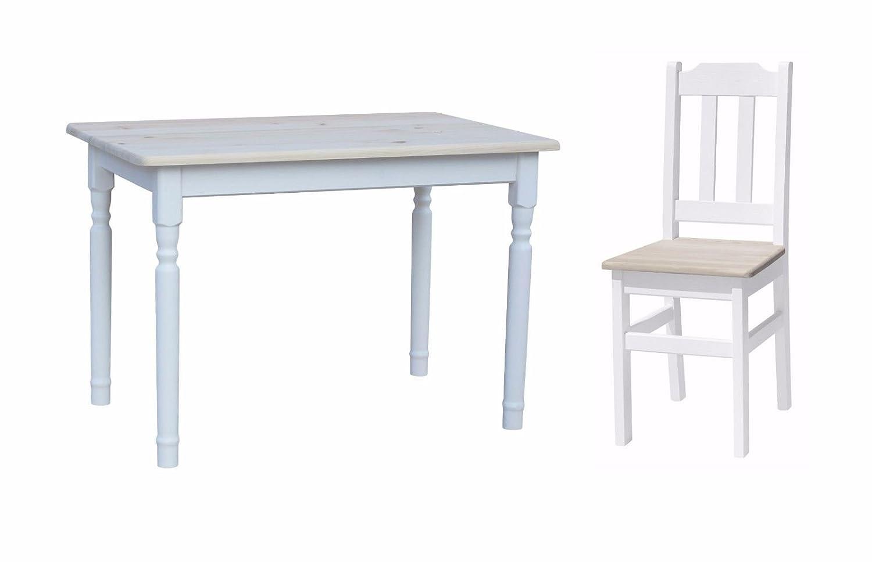 Tavolo da Pranzo in Legno di Pino e 4 sedie 120 x 70 cm Koma