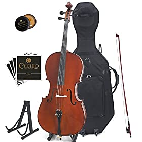 Cecilio CCO-500 Ebony Fitted Flamed Solid Wood Cello with Hard & Soft Case, Stand, Bow, Rosin, Bridge and Extra Set of Strings 11
