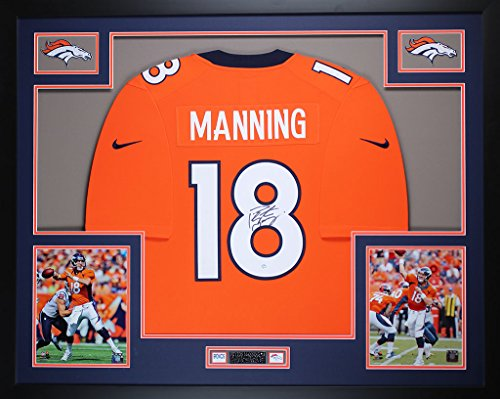 Peyton Manning Hand Signed - Peyton Manning Autographed Orange Broncos Jersey - Beautifully Matted and Framed - Hand Signed By Peyton Manning and Certified Authentic by Steiner COA - Includes Certificate of Authenticity