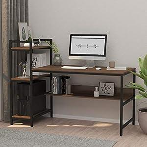 Dripex Bureau Informatique, Table de Bureau avec 4 Etagères de Rangement, Bureau d'Ordinateur pour Bureau et Domicile…
