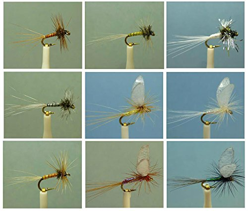 Midge Dry Fly (54 Artflies Midge Dry Flies, Flash Body Parachute, Biot Midge, Trico Spinner, Hook #20, [MG54])