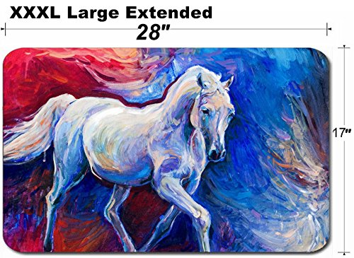 - MSD Large Table Mat Non-Slip Natural Rubber Desk Pads Image 26081745 Original Abstract Oil Painting of a Beautiful Blue Horse runningModern