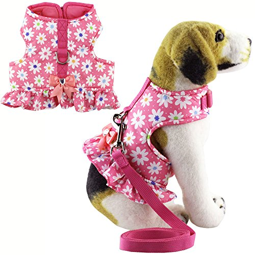 Dog Harness Dress Set - Bolbove Pet Lovely Flower Dots Vest Harness and Leash Set for Cats Dogs Pink (Small)