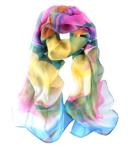 Blue Silk Long Scarf (Long Georgette Silk Scarf Floral Print (Rainbow))
