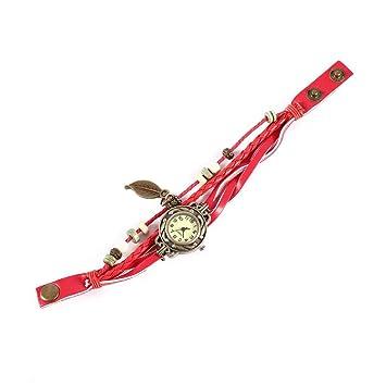 Erduo A estrenar 1pcs Reloj Hoja Pulsera Reloj Movimiento de Cuarzo Reloj de Pulsera Chica Mujer