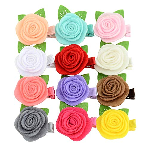 1.8 Inch Baby Girls Tiny Hair Bows Clips Fully Lined Snap Hair Pins Accessories (12PCS, Rose Flower) ()