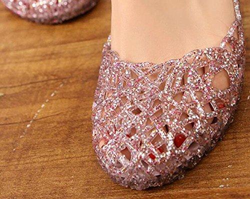 plano KUKI de playa US8 agujero gelatina CN39 cristal de EU39 brillante zapatos UK6 3 perforadas zapatos zapatos de Sandalias qrtSwqpz