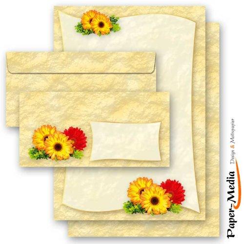 20 pezzi Set completo GERBERA 10 fogli di carta da lettera e 10 buste DIN LANG (senza finestra) Paper-Media
