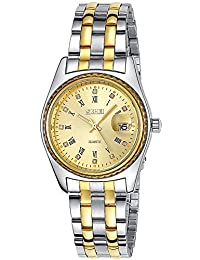 INWET Luxury Men's Quartz Watch,Gold Dial and Crystal Indexes,Stainless Steel Band