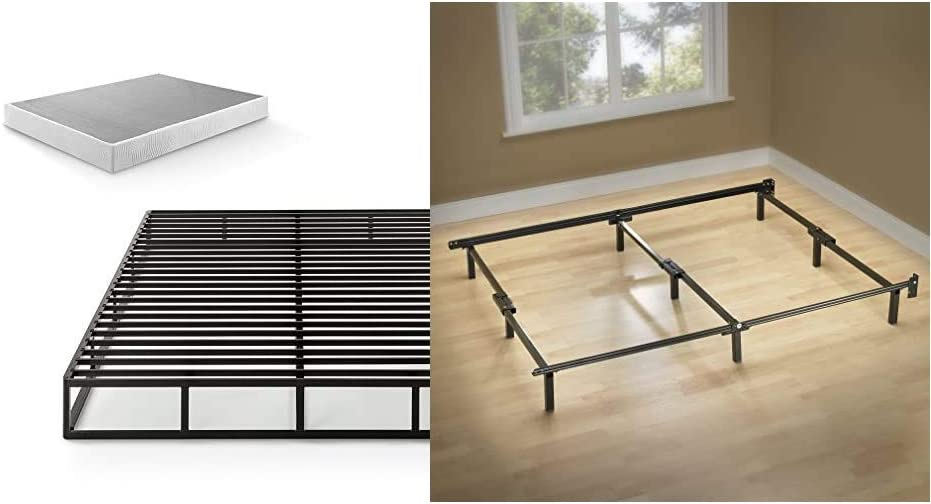 Zinus 7.5 Inch Quick Lock Smart Box Spring/Mattress Foundation/Strong Steel Structure/Easy Assembly, Queen & Michelle Compack 9-Leg Support Bed Frame, for Box Spring and Mattress Set, Queen