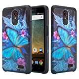 Fit Alcatel TCL LX Case, Phonelicious Alcatel 1x Evolve, Alcatel IdealXtra Phone Cover Dual Layer Rugged Hybrid Slim Fit with Screen Protector Compatible with 5059r, A502DL (Blue Butterfly)