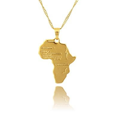 18K Gold Plated Africa Map Pendant Necklace Jewellery African map