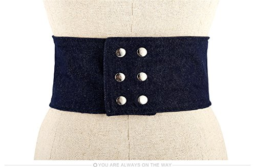 bandwidth tie denim belt all Decor 73 LONFENNENR 5cm match fashion stretch retro shirt black Navy dress waist Blue Women's tied minimalist ladies qYxxZtwP7