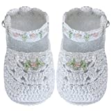 Country Kids Baby Girls' Handmade Mary Jane Daisy Crochet Crib Shoe Bootie with Pearl Button Fasten, 1 Pair Gift Set, Fits 0-6 months, White