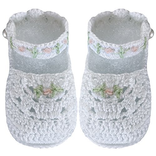 Crocheted Newborn Baby Booties - Country Kids Baby Girls' Handmade Mary Jane Daisy Crochet Crib Shoe Bootie with Pearl Button Fasten, 1 Pair Gift Set, Fits 0-6 months, White