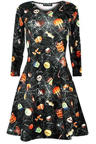 Womens Ladies Halloween Prints Long Sleeves Spooky Scary Flared Swing Dress - Halloween Themed Dress