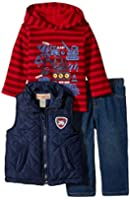 Kids Headquarters Baby Boys' Vest with Red Stripes Hooded Tee and Jeans