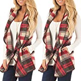 Yiqianzhaobiao_Coats Clearance Sale Womens Vest Plaid Sleeveless Lapel Open Front Cardigan Sherpa Jacket Pockets
