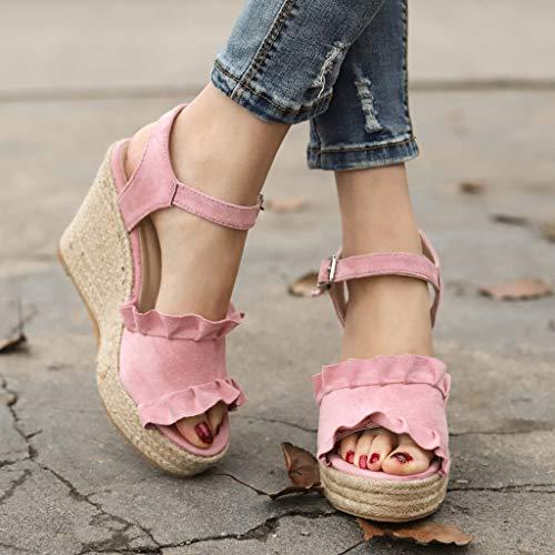 Rose Manadlian Haut Toe Talon Sandales Bride Chaussures Été Femmes Peep Plateforme Cheville UwqREPH