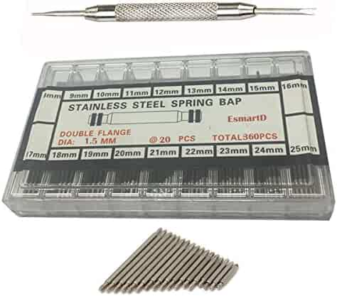 EsmartD 360 Pieces 8 - 25mm Watch Spring Bars Link Pins with Strap Link Pin Remover