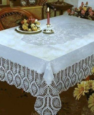 The Pecan Man Tablecloth Rectangle CROCHET LACE VINYL TABLECLOTH White 60x108